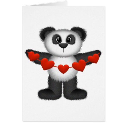 Valentine Panda Bear Holding String of Red Hearts Card ...
