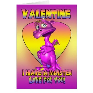Valentine's Day Card With Cute Little Monster