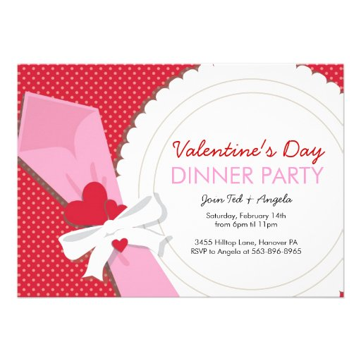 """Valentines Day Dinners: Valentine's Day Dinner Party 5"""" X 7"""" Invitation Card"""