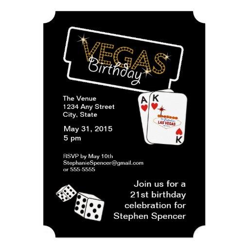 "Vegas Lights 21st Birthday Party Invitation 5"" X 7"