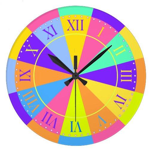 Vibrant Color Wheel Big Roman Numerals Large Clock Zazzle