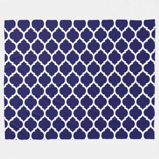 Vibrant Navy Blue Moroccan Quatrefoil Pattern Fleece ...