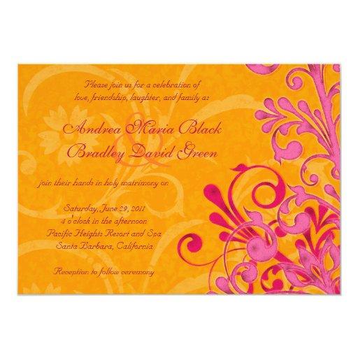 Pink Orange Wedding Invitations: Vibrant Orange And Pink Floral Wedding Invitation