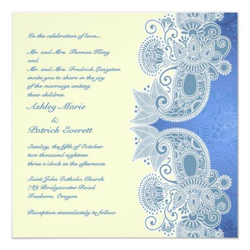 Flat Wedding Invitations: Victorian Blue Floral Flat Wedding Invitation