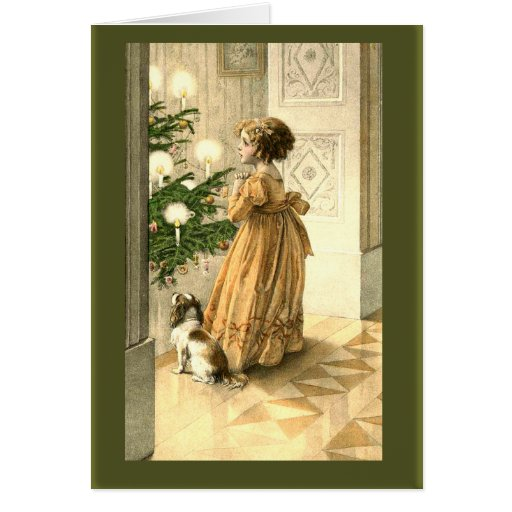 Little Girl Christmas Tree: Victorian Christmas Tree And LIttle Girl Cards