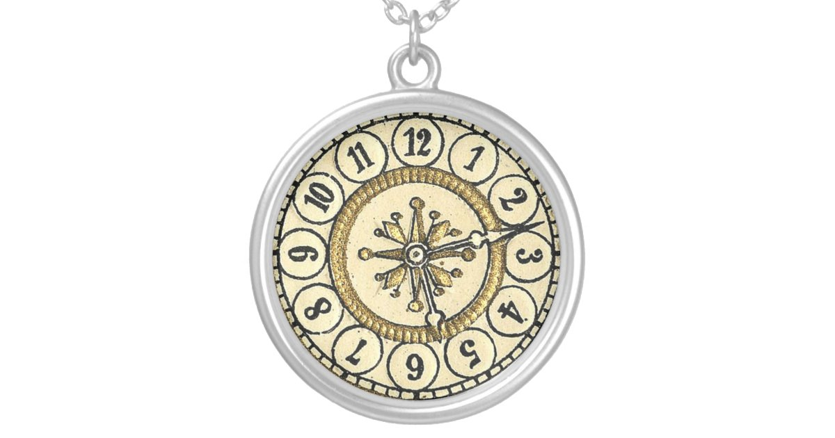 Victorian Die Cut Clock Face Steampunk Necklace