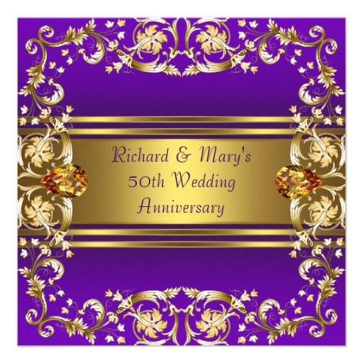 Flowers For Golden Wedding Anniversary: Victorian Flowers Purple And Gold 50th Anniversary 5.25