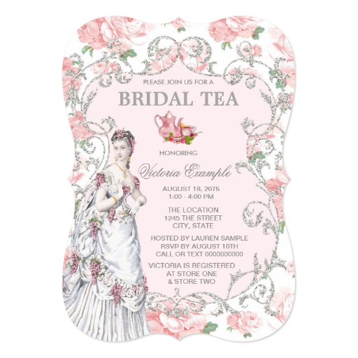 victorian tea party 5x7 paper invitation card  zazzle