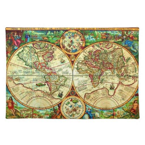 Vintage 1594 World Map Placement Placemat Zazzle