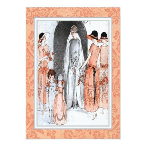 1920s Vintage Wedding Ideas: Vintage 1920s Illustration Bridal Party Shower Card