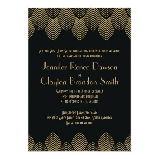 Art Deco Wedding Invitation: Vintage 20's Art Deco Scallop Wedding Invitation