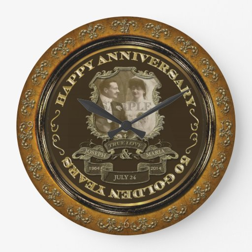 Vintage 50th Anniversary Id195 Large Clock Zazzle
