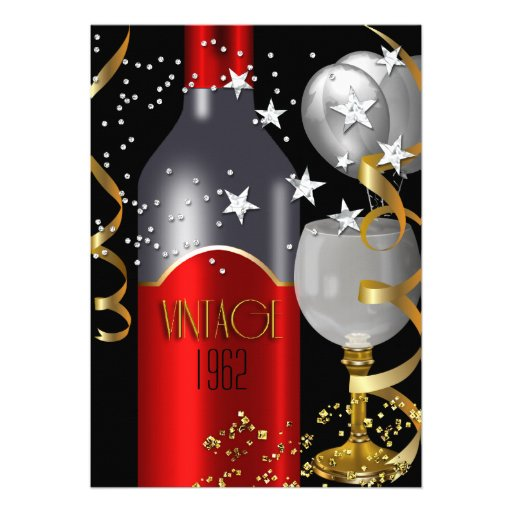 Vintage 50th Birthday Red Wine Black Gold Silver Custom