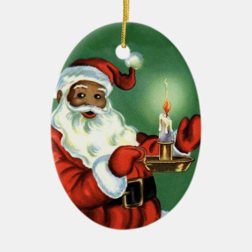 Vintage African American Christmas Ornament Santa | Zazzle