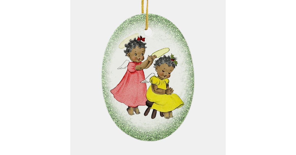Vintage African American Girl Christmas Ornament | Zazzle