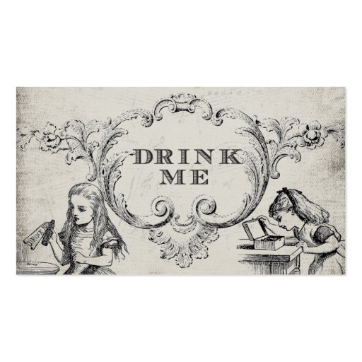 Vintage Alice In Wonderland Wedding Drink Cards Business Card Templates