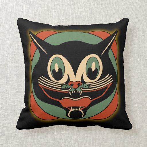 Vintage Art Deco Black Cat Pillow Zazzle