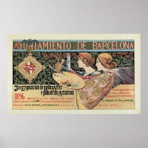 Vintage Art Nouveau Barcelona Horizontal Banner Poster