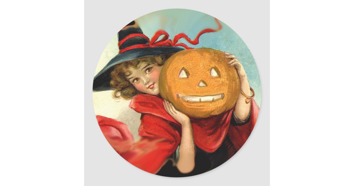 Vintage Art Witch and Pumpkin - Halloween gifts Classic ...
