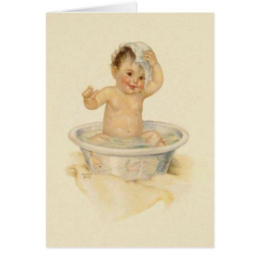 Vintage Baby Bath Note Card Zazzle