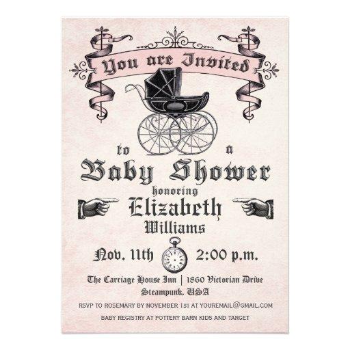 Vintage Baby Shower Invitations Girl: 4,000+ Vintage Baby Girl Shower Invitations, Vintage Baby