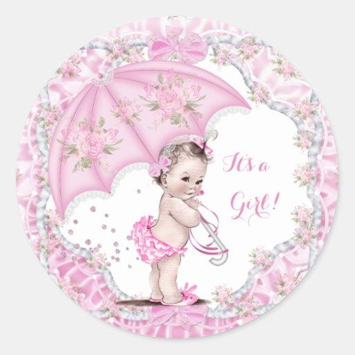 Vintage Baby Shower Girl Flowers Pink Umbrella Classic ...