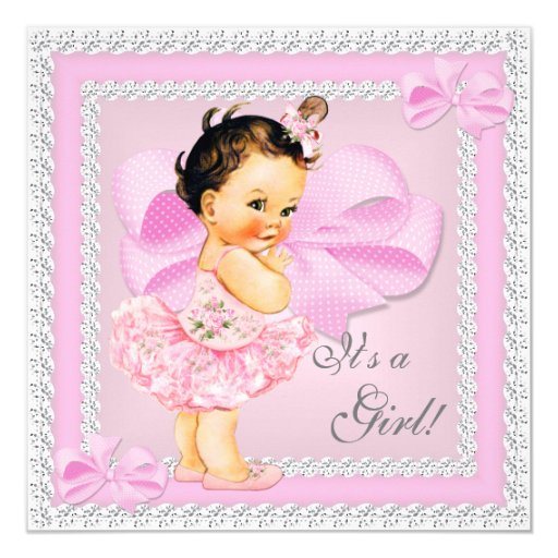 Vintage Baby Shower Invitations Girl: Vintage Baby Shower Girl Pretty Pink Tutu Brunette Card