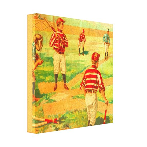 Vintage Baseball Game Victorian Art Wrapped Canvas Zazzle