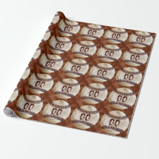 Vintage Baseball Wrapping Paper NUMBER or Monogram