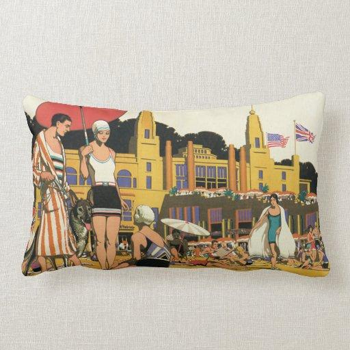 Vintage Beach Illustration Pillow | Zazzle