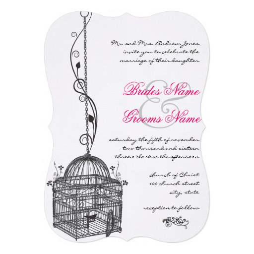 "Wedding Invitations Birdcage: Vintage Bird Cage Pink Accents Wedding Invitations 5"" X 7"