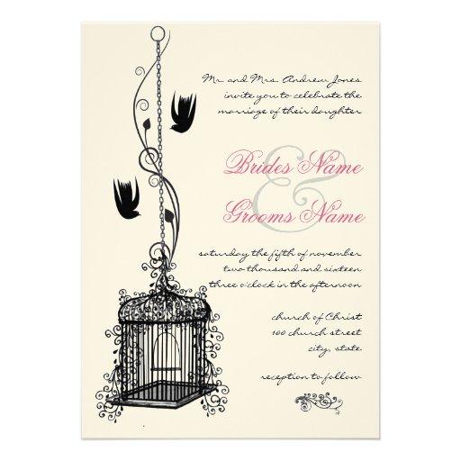 "Wedding Invitations Birdcage: Vintage Bird Cage Red Accents Wedding Invitations 5"" X 7"
