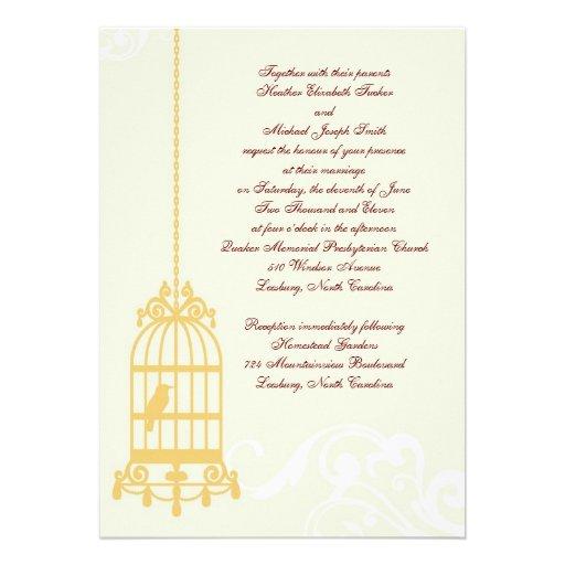 """Wedding Invitations Birdcage: Vintage Birdcage Wedding Invitations 5"""" X 7"""" Invitation"""