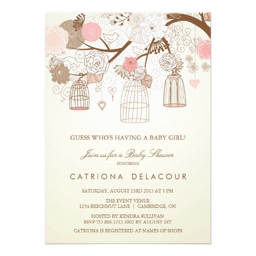 Vintage Baby Shower Invitations Girl: VINTAGE BIRDCAGES FLORAL BABY SHOWER INVITATION