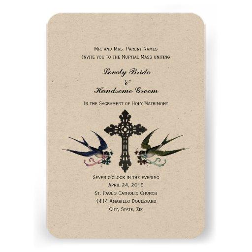 "Catholic Wedding Invitations: Vintage Birds Catholic Small Wedding Invitation 3.5"" X 5"