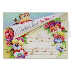 Vintage Birds Flowers And Music Birthday Card