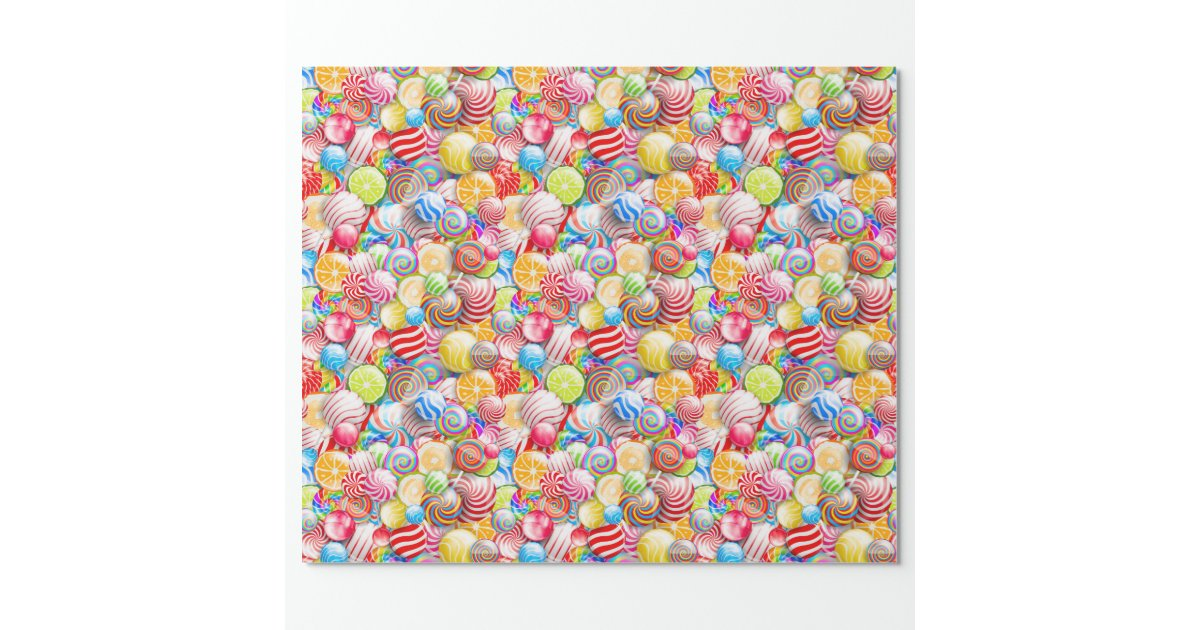 Vintage Birthday Or Christmas Candy Wrapping Paper Zazzle