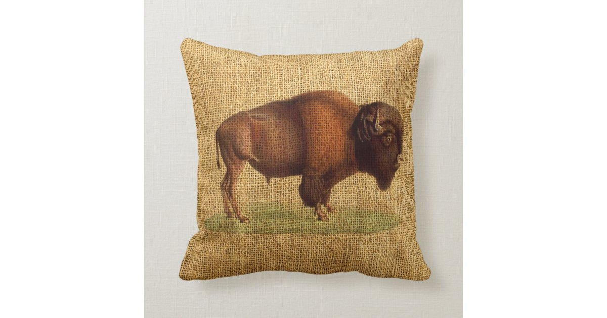 Vintage Bison American Buffalo Illustration Throw Pillow