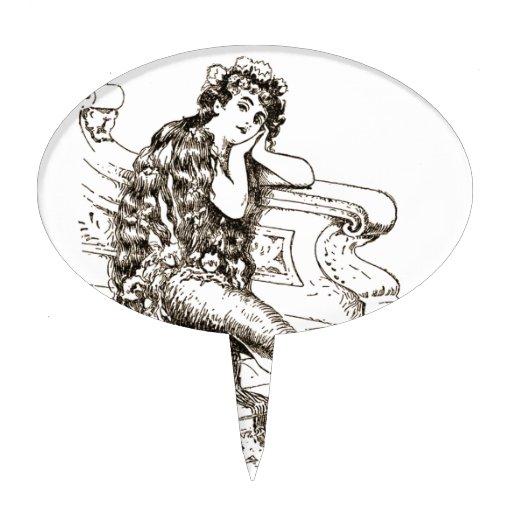 Vintage Black White Mermaid Drawing Cake Topper   Zazzle