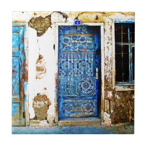 Vintage Blue Greek Door Rustic Style Ceramic Tile Zazzle