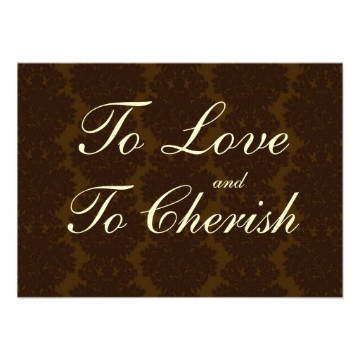 "Vintage Brown Damask Quote Wedding Invitations 4.5"" X 6.25 ...  Vintage Wedding Quotes"