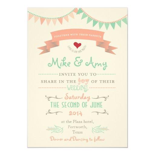 Bunting Wedding Invite: Vintage Bunting Whimsical Wedding Invitation
