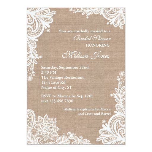 Burlap Invitations Wedding: Vintage Burlap And Lace Bridal Shower Invitation