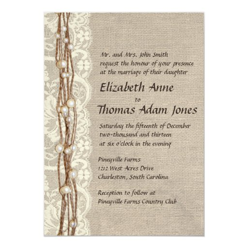 Pearl And Lace Wedding Invitations: Vintage Burlap Lace Pearls Wedding Invitation