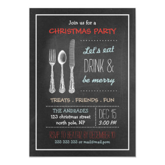 Vintage Chalkboard Christmas Party Red Blue White