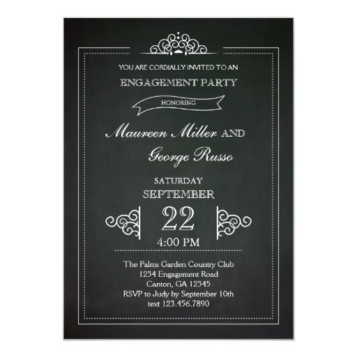 Chalkboard Engagement Party Invitation Printable By: Vintage Chalkboard Engagement Party Invitation
