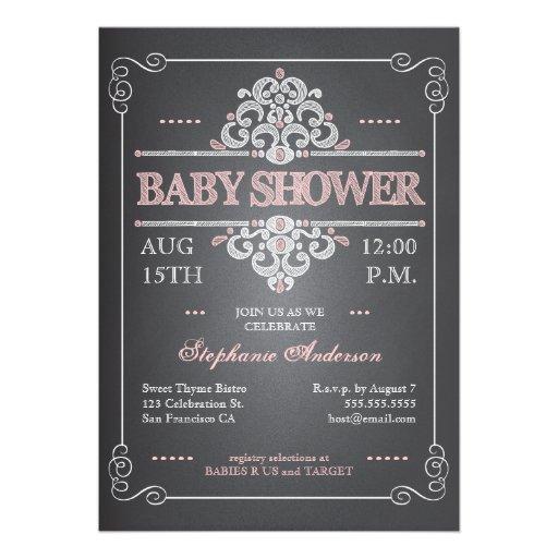 Vintage Baby Shower Invitations Girl: Vintage Chalkboard Girl Baby Shower Invitation