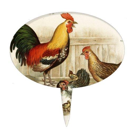 Vintage Chicken family illustration Cake Topper | Zazzle