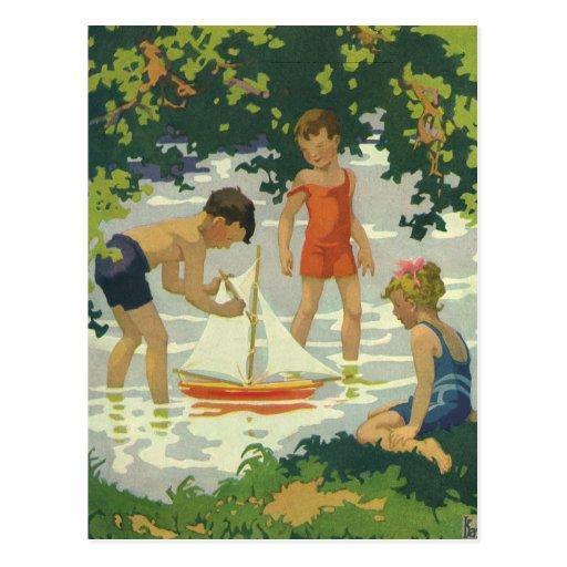 Vintage Children Playing Toy Sailboats Summer Pond ...