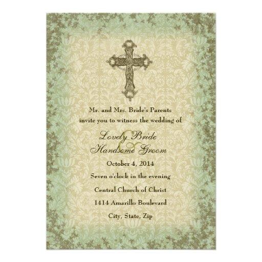 Christian Wording For Wedding Invitations: Vintage Christian Cross Wedding Invitation